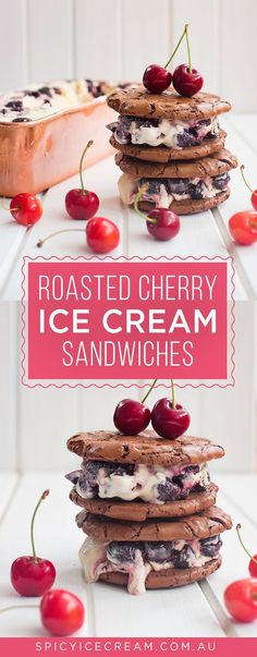 Roasted Cherry Ice Cream Sandwiches – exactly as delicious as it sounds! The no churn ice cream is super easy to make and tastes delicious with rich brownie cookies. Easy Desserts, Delicious Desserts, Dessert Recipes, Awesome Desserts, Sandwich Cake, Sandwiches, Fudge, Cherry Ice Cream, Ceramic Baking Dish