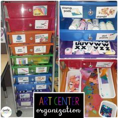 Preschool art center Organization - get organized and provide your students with lots of materials for open ended process art! Writing Center Preschool, Preschool Centers, Preschool Learning Activities, Kindergarten Classroom, Preschool Activities, Preschool Decor, Kindergarten Writing, Teaching Ideas, Center Labels