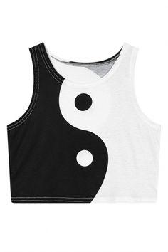 Chinese Tai Chi Pattern Print Crop Tanks - Beautifulhalo.com