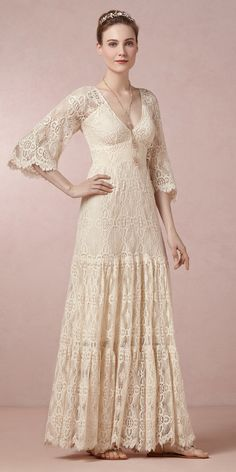 Beach Boho Chic Rustic Vintage Ivory $ - $700 and under BHLDN Barn Beach Country Destination Fall Floor Lace Long Sleeve Spring Summer V-neck Wedding Dresses Photos & Pictures - WeddingWire.com