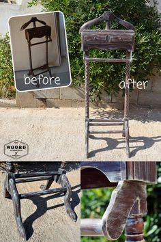 Before and after for this furniture makeover by @Woord_art Clothes Stand, Furniture Makeover, Ale, Wood, Outdoor Decor, Home Decor, Coat Racks, Decoration Home, Woodwind Instrument