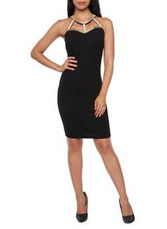 Bodycon Dress with Embellished Keyhole Neckline - 3410065623022