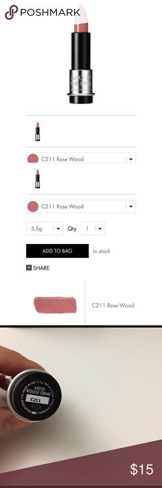 Makeup Forever artist rouge creme lipstick C211 Swatched once. ARTIST ROUGE CREME leaves lips with a silky-smooth, creamy finish. High-precision color is ultra-pigmented and radiant, texture is supremely hydrating and lasts over 8 hours. Makeup Forever Makeup Lipstick