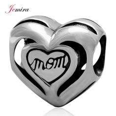 Love Mom Heart Charms for Mother`s Day 925 Sterling Silver Beads DIY Jewelry Making For Woman Snake Chain Bracelets