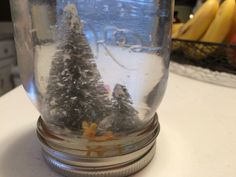 Homemade Snowglobe DIY Mason jar, take off lid, waterproof glue your characters (plastic holds up well, this is bristle trees with plastic deer), sit overnight to dry, fill jar with H20 + glitter or fake snow, put lid on upside down, screw tight or glue tight, shake!
