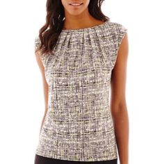 Cool print and nice shape. Liz Claiborne Extension Shoulder Knit Top Shirts - JCPenney
