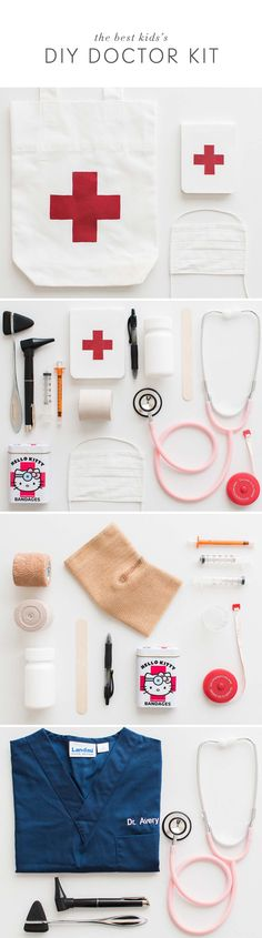 An easy DIY Doctor Kit - perfect for kids to practice imaginative play, learn compassion, and have fun! With cute mini scrubs, this makes the best kids Halloween costume!