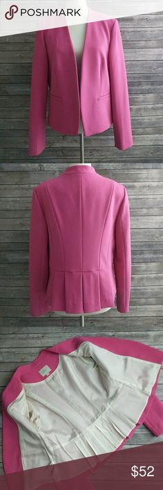 "Ann Taylor Loft Blazer Pink blazer in excellent used condition, looks like it has never been worn. Bust measured across the back from armpit to armpit 19.75"". Length 23"". LOFT Jackets & Coats Blazers"