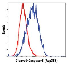 #8592 Cleaved Caspase-8 (Asp387) (D5B2) XP® Rabbit mAb (Mouse Specific) | CST抗体 | Flow cytometric analysis of CTLL-2 cells, untreated (red) or treated with cyclohexamide and hTNF-α #8902 (blue), using Cleaved Caspase-8 (Asp387) (D5B2) XP® Rabbit mAb (Mouse Specific).