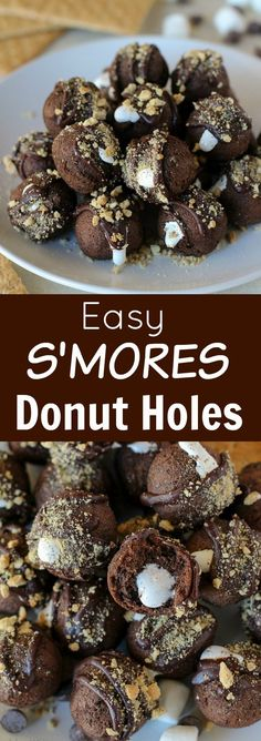 S'mores Donut Holes - Chocolate donut holes filled with marshmallow cream, topped with melted chocolate and graham cracker crumbs.