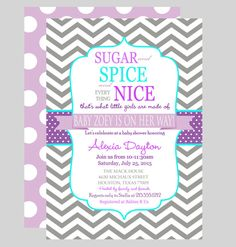 Darling Girls Baby Shower Invitation Purple by PaperCleverParty