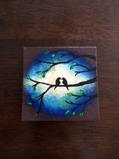 Love Birds in Tree in Blue Night Sky on Mini Canvas Hand Painted with Magnet.  Size 3x3 on Etsy, $14.99