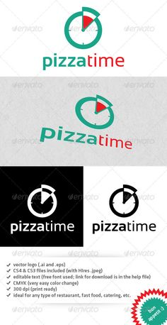 Buy Pizza time logo by dvotocka on GraphicRiver. Logo ideal for all type of restaurant, fast food, catering, etc. - vector logo (ai and eps files) - and files. Vector Design, Web Design, Pizza Company, Logos, Logo Branding, Logo Restaurant, Logo Food, Animal Logo, Banner Template
