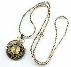Vtg Bercona Berco 1J Swiss Gold Tone Pendant Necklace Pocket Style Watch - TLC