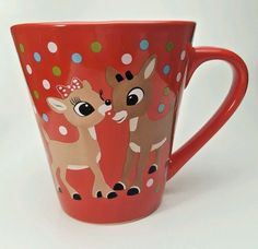 Rudolph Reindeer Christmas Holiday White w//Gold Cups Mugs 4 The Rudolph Co