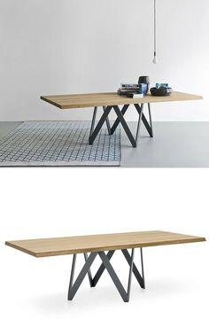 Rectangular wood veneer table CARTESIO By Calligaris design Busetti Garuti Redaelli Design Furniture, Metal Furniture, Cool Furniture, Modern Furniture, Table Legs, A Table, Modern Dining Table, Dining Chairs, Simple Desk