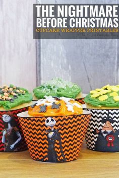 Cupcake Wrappers - The Nightmare Before Christmas - Crafty October Day 21 printables christmas printables before christmas printables before christmas printables free christmas printables Nightmare Before Christmas Halloween, Halloween Kids, Halloween Party, Halloween 2020, Halloween Makeup, Christmas Birthday Party, Christmas Cupcakes, 11th Birthday, Birthday Bash