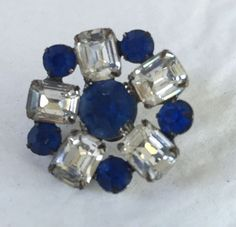 Vintage Pendant Round Blue Rectangle Clear Rhinestones Silver Tone #Unbranded