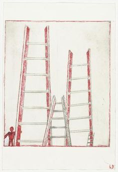 Ladders, state I Louise Bourgeois (American, born France. Drypoint with ink and gouache additions, plate: 11 x 9 x cm); sheet: 15 x 10 x 27 cm). Gift of the artist. Louise Bourgeois Art, Louise Nevelson, Famous Artists, American Artists, Ladders, Prints, Stairways, Printmaking, Ink