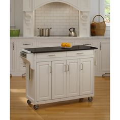 Meryland White Modern Kitchen Island Cart - Overstock Shopping - Great Deals on Baxton Studio Kitchen Carts