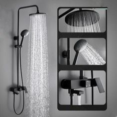 Antique Black Brass & ABS Round Head Bathroom Rainall Shower Tap TF0188B Brass Shower Head, Bathroom Shower Heads, Shower Taps, Washroom, Waterfall Taps, Waterfall Shower, Black Bathroom Taps, Black Taps, Bath