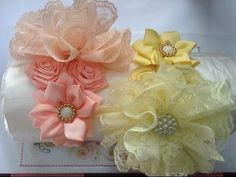 Diadema con flor de encaje y liston VIDEO No. 228 - YouTube