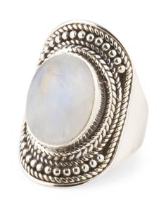 Made In India Sterling Silver And Rainbow Moonstone Ring