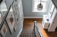House Tour: Color and Pattern in a Rhode Island House Staircase Pictures, Small Vanity, Bedroom Flooring, Hallway Decorating, Eclectic Decor, Family Pictures, White Walls, Bold Colors, Newport