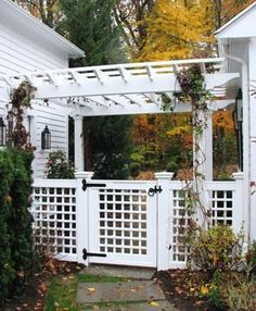 Pergola Structure over Lattice Fence | Wood Fence, Vinyl Fence & Metal Fence from Walpole Woodworkers