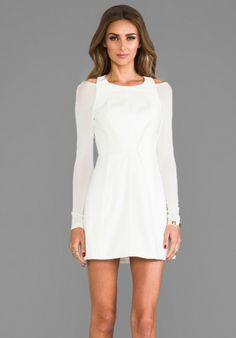 Cameo White Fire We Make Long Sleeve Dress in White