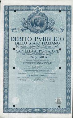DEBITO PUBBL. DELLO STATO ITALIANO - PRESTITO REDIM. 3,50% - CART. AL PORT. (ANNO 1962) - #scripomarket #scriposigns #scripofilia #scripophily #finanza #finance #collezionismo #collectibles #arte #art #scripoart #scripoarte #borsa #stock #azioni #bonds #obbligazioni