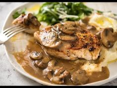 A fabulous quick midweek meal - juicy pan seared Chicken with Mushroom Gravy. Chicken Mushroom Gravy, Mushroom Sauce, Pan Seared Chicken, Chicken Steak, Steak And Mushrooms, Stuffed Mushrooms, Stuffed Peppers, Smothered Chicken Recipes, Easy Chicken Recipes