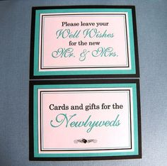 5x7 Flat Wedding Sign Package in Black and White and Tiffany Blue by WeddingsBySusan, $10.00