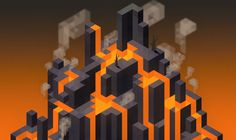 isometric 뷰 참고, 실루엣 참고  -------------------------------- maaot:  Volcan. Hexels + Photoshop.