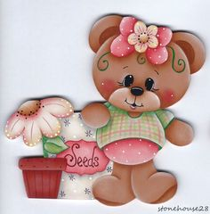 HP TEDDY BEAR Planting Flowers FRIDGE MAGNET Tole Painting, Fabric Painting, Bear Pictures, Cute Pictures, Rock Crafts, Arts And Crafts, Wood Yard Art, Baby Clip Art, Cute Clipart