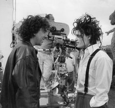 Tim Burton and Johnny Depp on the set of 'Edward Scissorhands'.