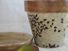 ***Reserved for Alison*** Painted Clay Flower Pot Whimsical Accessory Holder Terra Cotta Planter Brown Decor Tree Art This flower pot has
