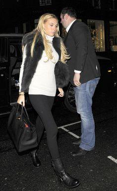 Petra Ecclestone in a fur vest
