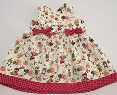 Vestido infantil com estampa chapeuzinho vermelho com barra de poá na saia    Tecido 100% algodao    Tamanho P 1 a 3 meses/ M 3 a 6 meses/ G 6 a 9 meses/1 ano / 2 anos/ 3 anos