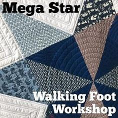 Piece a Mega Pinwheel Star quilt and machine quilt it quickly on your home machine using walking foot quilting. Easy start to finish quilting workshop by Leah Day.