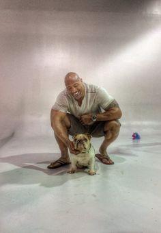 Dwayne Johnson (The Rock) and his English bulldog, Lucy.