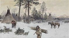 Artwork by Henry Francis Farny, Winter Encampment, Made of gouache on board kp