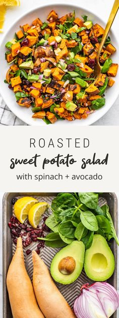 Salad With Sweet Potato, Sweet Potato Recipes, Sweet Potato Dip, Sweet Potato Dinner, Spinach Recipes, Healthy Salad Recipes, Roasted Sweet Potatoes, Picnic Recipes, Picnic Ideas