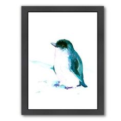 """East Urban Home Baby Penguin 3 Framed Original Painting Size: 11"""" H x 9"""" W x 1"""" D"""