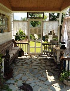 Secret Cottage Garden Out door porch, cottage chic. like some of her ideasOut door porch, cottage chic. like some of her ideas Outdoor Rooms, Outdoor Gardens, Outdoor Living, Outdoor Decor, Outdoor Curtains, Outdoor Retreat, Garden Cottage, Cottage Chic, Cottage Porch