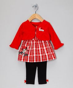 Take a look at this Red & Black Minnie Mouse Dress Set by Disney on #zulily…