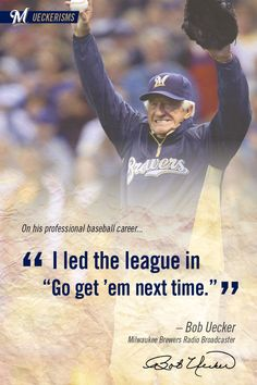 Bob Uecker has been in baseball for a total of 60 years and has been announcing for Milwaukee Brewers for 45 years. Soccer Memes, Softball Quotes, Baseball Live, Baseball Park, Baseball Stuff, Softball Problems, Baseball Pictures, Baseball Players, Mlb Players