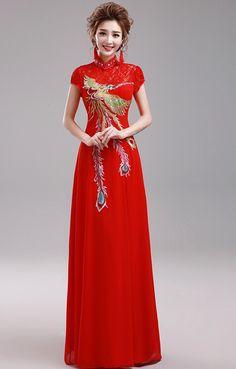 1ec0a93de18 Elegant Red Pheonix Embroidery Chinese Wedding Dress Evening Gown -  iDreamMart.com Oriental Fashion