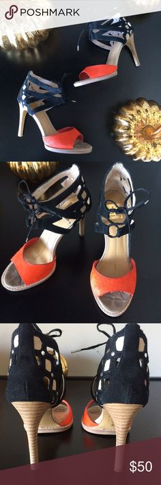 "DV lace up heels  Just in time for fall  Orange and black lace up peep toe heels in great shape, worn maybe 3 times. Suede back with sleek cut outs, faux cowhide front. The suede ties show some wear but not noticeable when being worn. 4"" heel. Fits true to size. No trades. DV by Dolce Vita Shoes Heels"