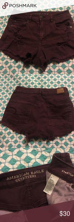 "American Eagle shorts AE burgundy destroyed jean shorts. Inseam 2.5"" Shorts Jean Shorts"